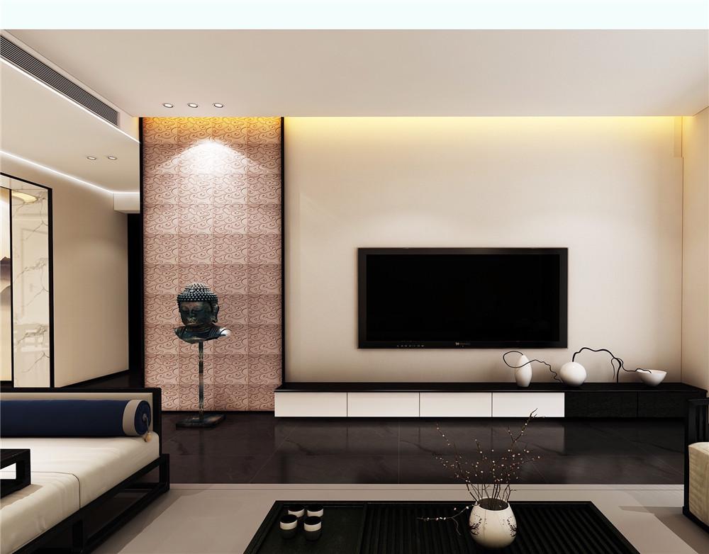 新中式电视背景墙紫气