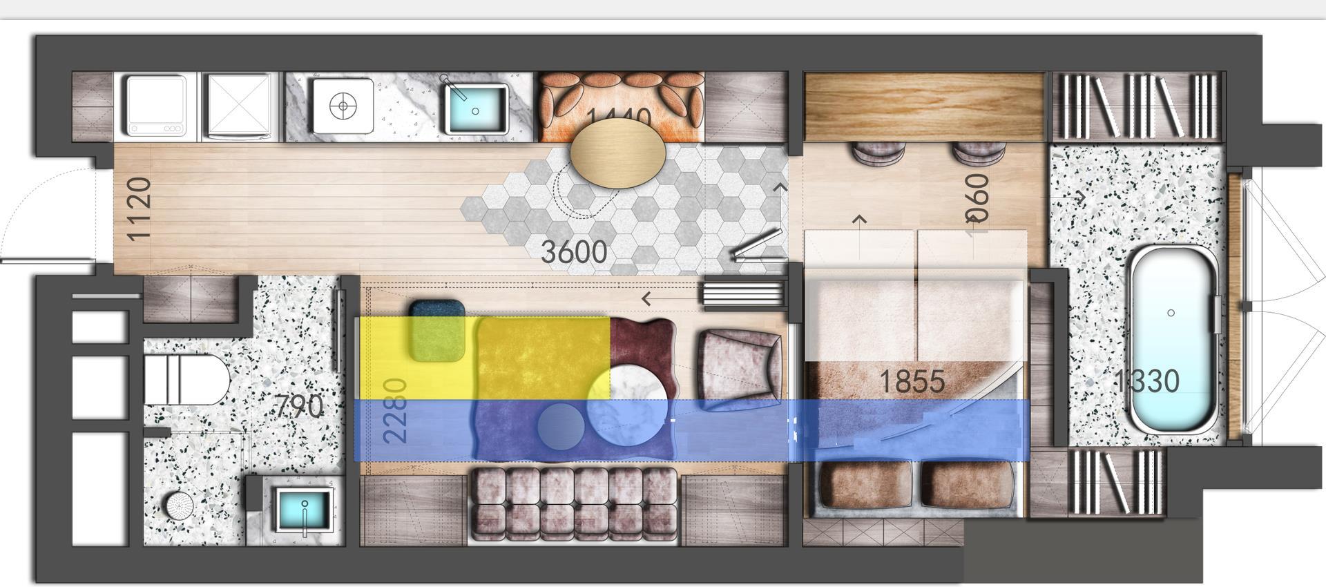 一居室平面方案彩图