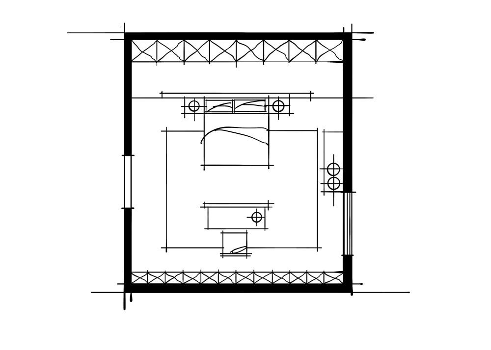 室内设计中的十种做法-书房对景的卧室设计