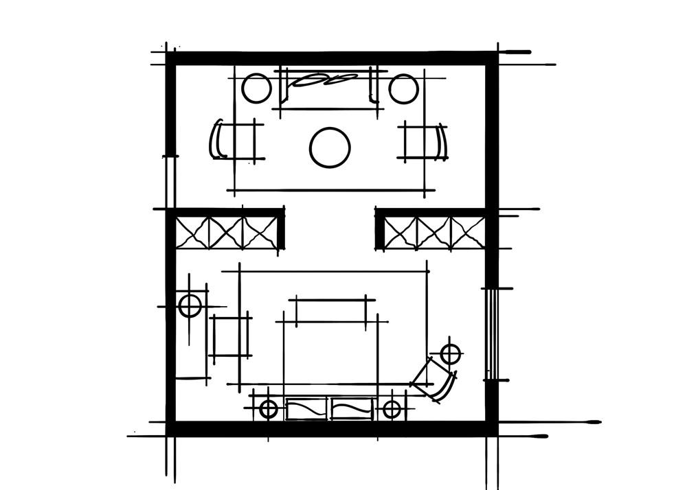 室内设计中的十种做法-起居室加隐蔽式卧室空间