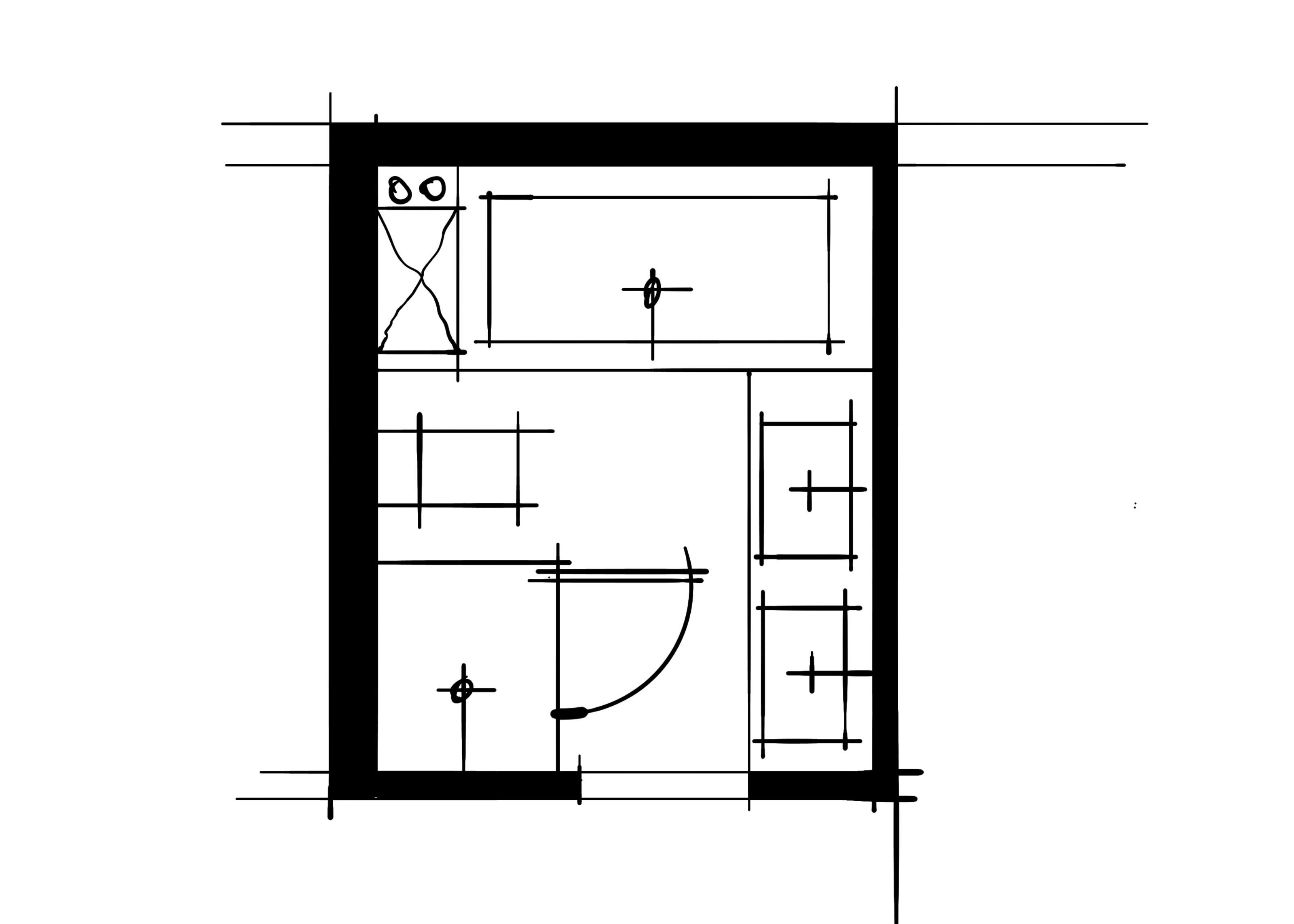 室内设计八大空间的十种做法-主卫(浴缸T字形空间设计方案)