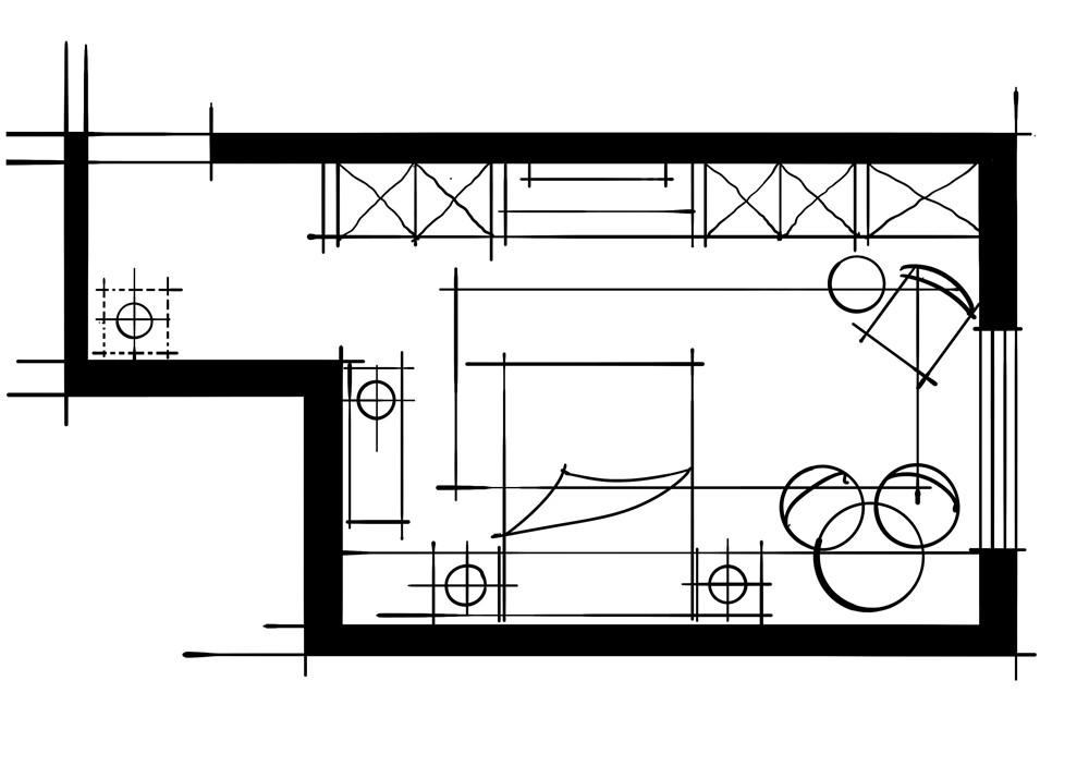 室内设计八大空间的十种做法-客卧(电视柜+衣帽间一字型空间组合关系)