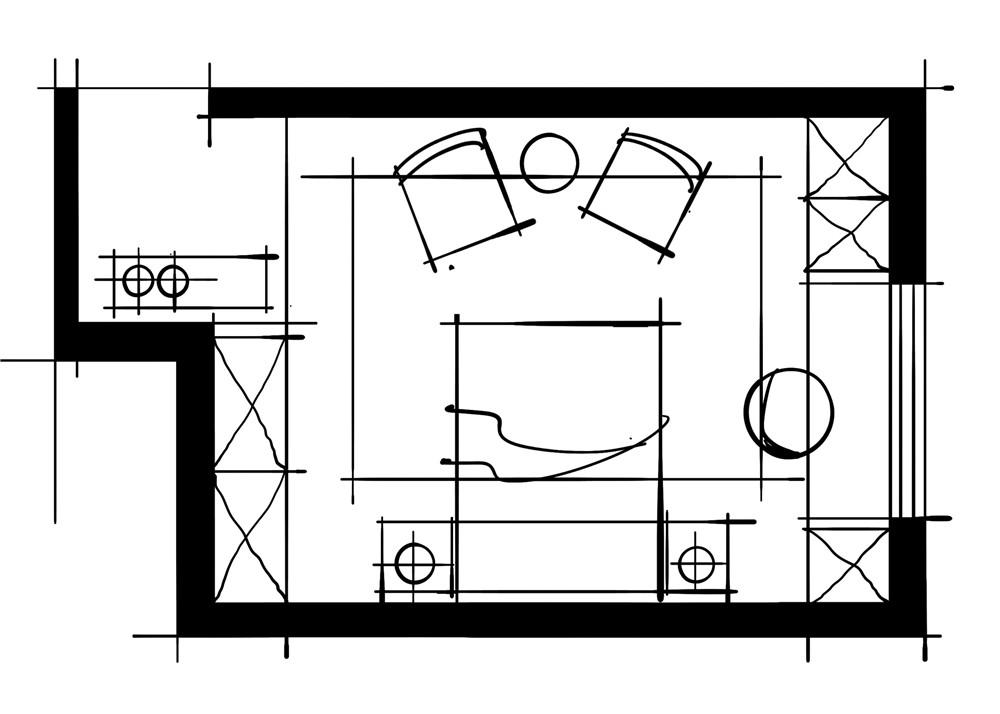 室内设计八大空间的十种做法-客卧(阳台半踏衣柜设计方案)