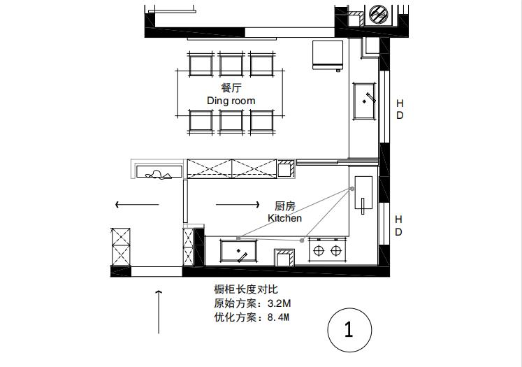 龙庭山水138餐厨平行式厨房设计方案